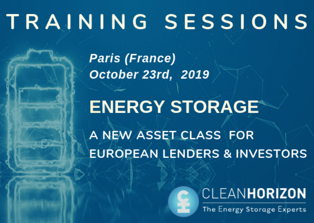 SPECIAL TRAINING SESSIONS: Energy Storage, a new asset class for European lenders & investors